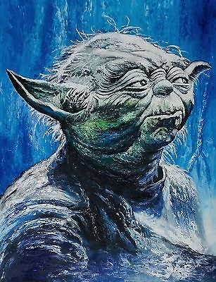 Jedi Master Star Wars Palette Knife Oil Painting On Canvas Textured