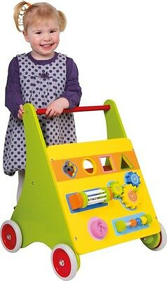 Wooden Activity Board Walker Push Along Baby Walker First Steps Walking Toy