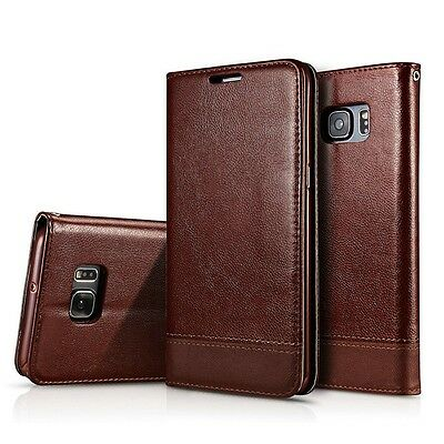 Genuine Real Leather Flip Stand Wallet Card Holder Case Cover For Samsung Galaxy