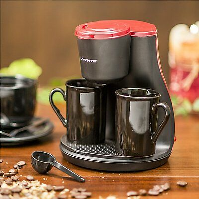 Ovente CM3BR Two Serving Coffeemaker with 2 Ceramic Personal Cups  (Red) CKM