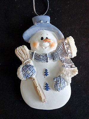 """SNOWMAN Christmas Ornament 3.5"""" Blue with Scarf Hat and Broom Resin"""