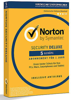 Norton Security Deluxe 3.0 - 2018 / 2019  5 Geräte -1 Jahr PC/Mac/Tablet/Handy