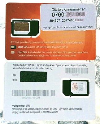 Sweden and Denmark TRE 3 SIM CARD ready to use Swedish,Danish nano available