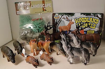 10-piece forest landscape trees and box of 12 plastic woodland animals