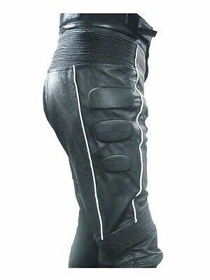 Men's Leather Motorcycle Racing Pant Padded Inseam Length 28 To 34 LLL-14PBLK