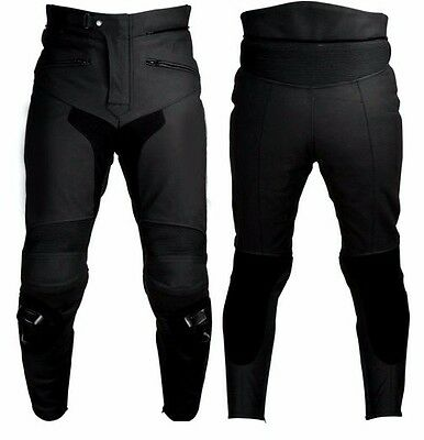 Men's Matte Finish Leather Motorcycle Racing Pant Inseam Length 28 To 34 LLL-756