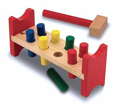 Melissa & Doug Deluxe Wooden Pound-A-Peg Toy With Hammer 496 Ages 2+