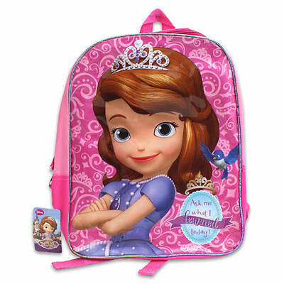 """Backpack 15.5"""" Disney Princesss Sofia The First What I Learned Today New"""