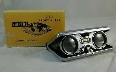 EMPIRE SPORT GLASSES vintage folding binoculars Opera collapsible model 232 2.5x