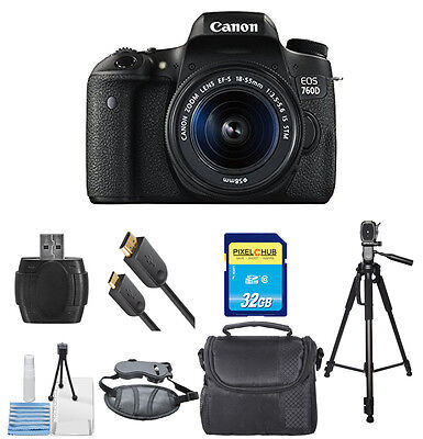Canon EOS 760D T6s W/ EF-S 18-55mm f/3.5-5.6 IS STM Lens PRO BUNDLE!! New!!