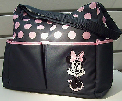 Diaper Bag Tote Large Disney Minnie Mouse Gray Pink Dots NWT