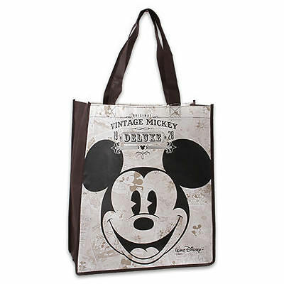 Shopping Grocery Tote Shoulder Bag Non Woven Disney Mickey Classic Brown New