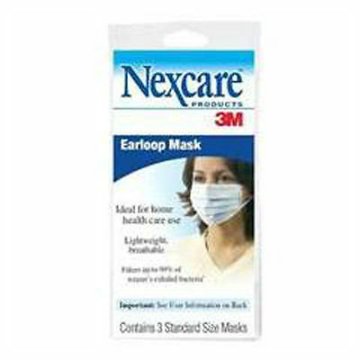 3 Disposable Nexcare 3-Layer Earloop Mask Latex Free New