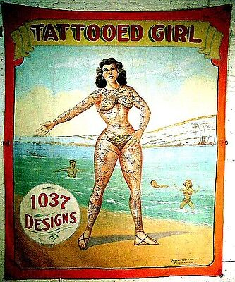 "3.25"" TATTOOED GIRL! Circus sideshow STICKER /DECAL. Vintage Freak show Banner"