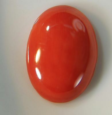 1 pcs VINTAGE NATURAL Mediterranean salmon / ox blood CORAL 18.2 x 13  mm oval