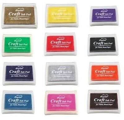 Craft Pigment Ink Pad for Paper Wood Fabric Scrapbook 17 Colours UK Stock