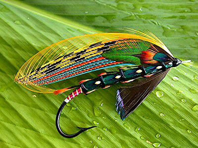 "3.25"" Bud Guidry Fully Dressed Jungle Cock Salmon fly art Sticker. Fly tying."