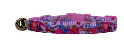 Handmade fabric pink Disney's  Dumbo  safety kitten cat collar bell 3 sizes