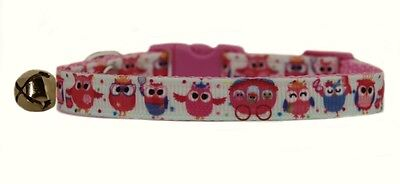 Handmade fabric pink & cream Owl  safety kitten cat collar bell 3 sizes