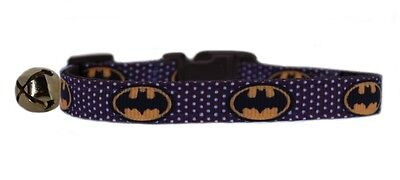 "Handmade  Brown & white yellow  ""Batman""  safety kitten cat collar bell 3 sizes"