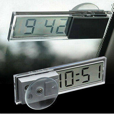 Mini Dashboard Windshield Clear Digital LCD Display Suction Cup Auto Car Clock C