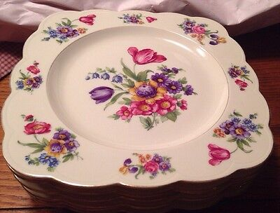 Set Of 6 - Royal Bayreuth GARDEN FLOWERS Square Luncheon Plates