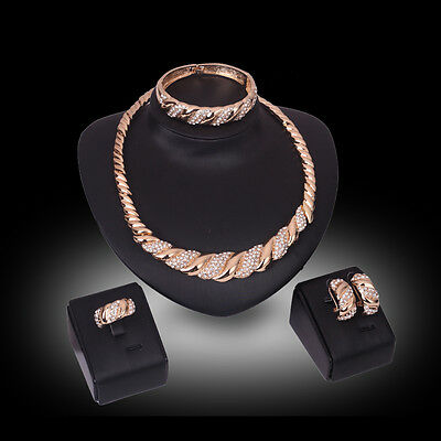Women 18K Gold Plated Rhinestone Necklace Earrings Bridal Costume Jewelry Sets