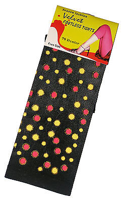 New Ladies 70 Denier Black Yellow/red Dots Footless Tights