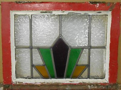 "OLD ENGLISH LEADED STAINED GLASS WINDOW Nice Geometric Burst 20"" x 15.25"""