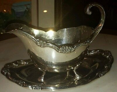 Silver Plated Gravy Boat and Tray