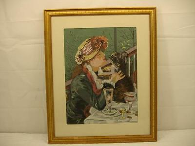 Antique Victorian Needlepoint Tapestry Embroidery Antique woman w/ dog shih tzu