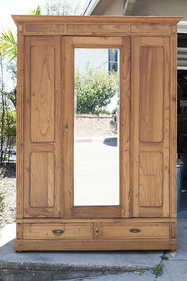 Antique American Pine Armoire with mirrored door