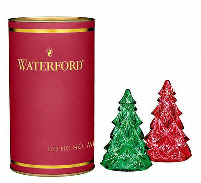 Waterford Crystal Giftology MINI CHRISTMAS TREES Red & Green SET / 2 - NEW /BOX!