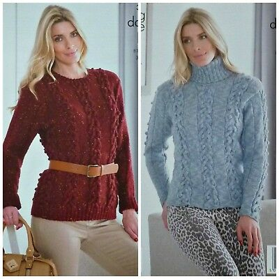 KNITTING PATTERN Ladies Round or Polo Neck Cable & Bobble Jumper DK KC 3931