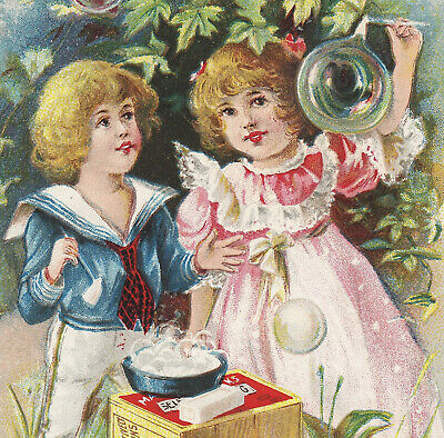 Maple City Soap Bubble Pipe Soapbox Monmouth IL Victorian Advertising Trade Card