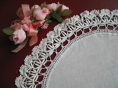 Vintage White Linen Lace Cordonnet Crochet Doily Victorian Antique Beautiful