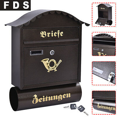 Post Box Steel Retro Large Letter Mailbox Wall Mounted Lockable Key Outdoor New