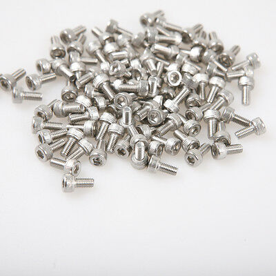 100PC Metric Thread M3 Stainless Steel Hex Bolt Kit 304 Cap Nut Washer Set Screw
