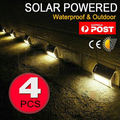 4X Outdoor Solar LED Deck Garden Stair Step Lights Stainless Steel Wall Pathway