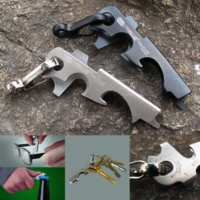 Outdoor Survival Camping Hiking Rescue Gear Pocket 8 in 1 Keychain Multi Tool