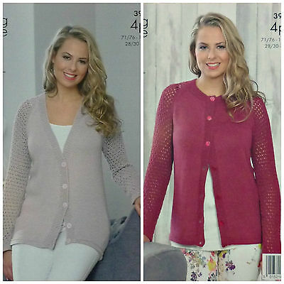 KNITTING PATTERN Ladies Long Lacy Sleeve V-Neck Cardigans BambooCotton 4ply 3926