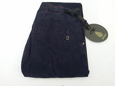DONDUP men's trousers mod RAY velvet blu 100 % cotone MADE IN ITALY