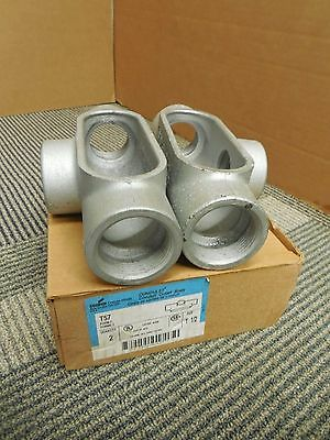 "Cooper Crouse-Hinds T57 Conduit Outlet Body 1 1/2"" Npt 3-Way T Tee Lot Of 2 Nib"