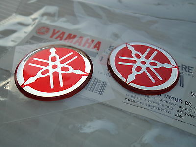 YAMAHA GENUINE 30MM TUNING FORK LOGO RED TANK EMBLEM STICKER x 2 **UK STOCK**