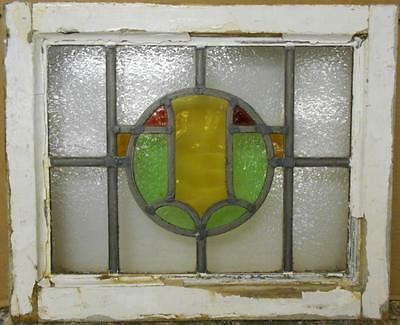 "OLD ENGLISH LEADED STAINED GLASS WINDOW Pretty Circular Design 20.5"" x 16.75"""