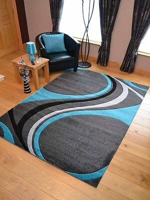 Silver Grey Teal Blue Swirl Modern Soft Thick Rugs Small Extra Large Mats Cheap