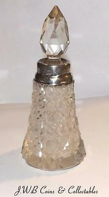 Antique Cut Glass & Silver Topped Scent Bottle Hallmarked London 1911