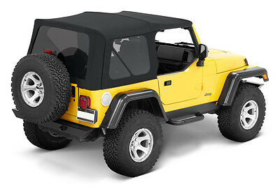 1997-2006 Jeep Wrangler Replacement Soft Top and Tinted Rear Windows in Black