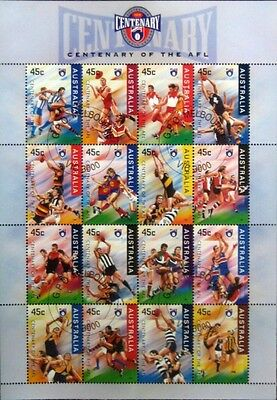Australian Centenary Football Afl 1 Sheet X 16 X 45C Stamps