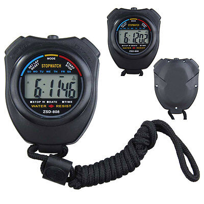 Digtal Stopwatch Stop Watch LCD Professional Chronograph Timer Counter Sports
